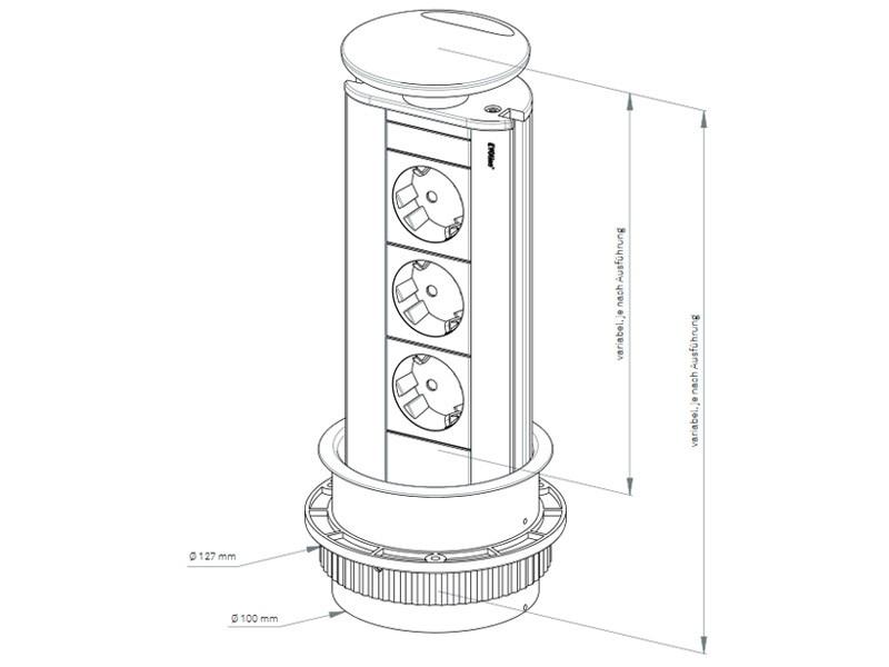 evoline port cuisine versenkbare steckdosenleiste. Black Bedroom Furniture Sets. Home Design Ideas